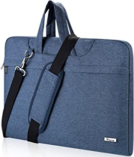 "Voova 15 15.6 inch Laptop Sleeve Case Shoulder Bag with Adjustable Shoulder Straps & Suppressible Handles Compatible 15"" MacBook/Surface Book 2 / XPS 15 / Zbook/Probook/Lenovo/Hp Blue Blue 14-15.6 in"