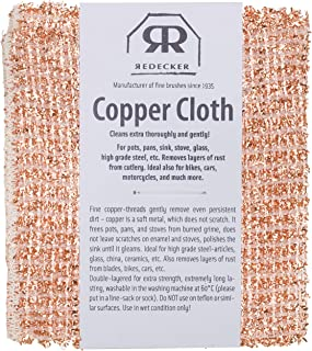 REDECKER Copper Cleaning Cloth, Set of 2, Durable and Non-Abrasive Scrubber, Machine Washable, Made in The Netherlands
