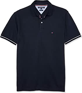 Tommy Hilfiger Men's 1985 Polo T-Shirt with Sleeve Tipping and Navy Collar
