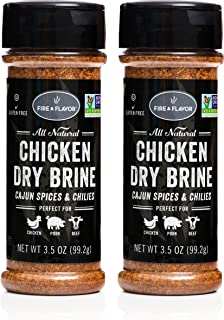 Fire & Flavor Natural Chicken Dry Brine with Cajun Spice and Chilies, 3.5 ounce Bottles, Pack of 2