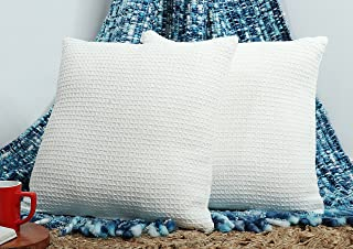 Tex Trend 100% Cotton Decorative Throw Pillow Covers for Sofa Bed Couch Chair (Ivory, 16 x 16 inch/ 40 x 40 cm, Set of 2) ...