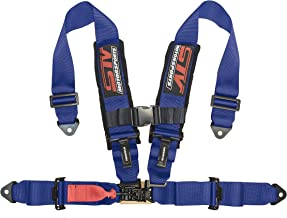 """STVMotorsports 4 Point Harness - 3"""" Pads - Universal V-Type - Bolt in - Latch and Link Quick Release - for Off-Road, UTV, Trucks, Side by Side (Single) (Blue)"""