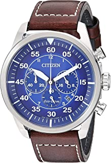 Men's Avion Stainless Steel Quartz Leather Calfskin Strap, Brown, 21.7 Casual Watch (Model: CA4210-41M)