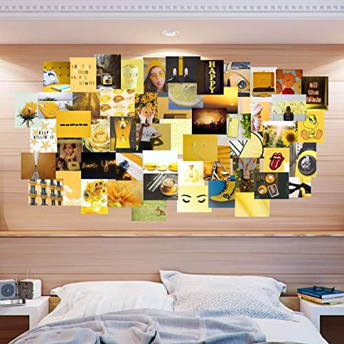 Amazon Com Yellow Aesthetic Collage Kit 54 Piece Wall Decor Vsco Teen Girl Wall Decor Aesthetic Dorm Collage Kit Apartment Collage Kit Handmade