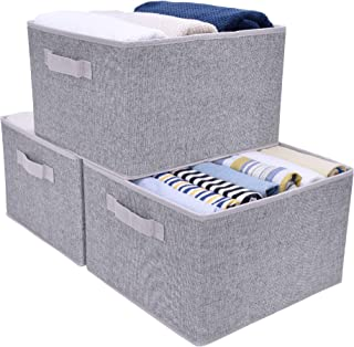 StorageWorks Collapsible Storage Bins for Shelves with Handles, Closet Basket, Rectangle, Gray, 3-Pack, Large