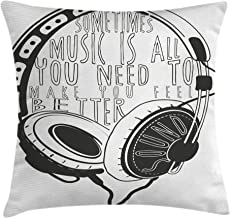 Ambesonne Music Throw Pillow Cushion Cover, Headphones Industrial Design Sketch with Quote Audio Sound Stereo Scribble, Decorative Square Accent Pillow Case, 18 X 18 Inches, Charcoal Grey White