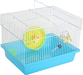 YML Single Story Dwarf Hamster Cage with Small Wheel/Dish and Water Bottle/Plastic Base