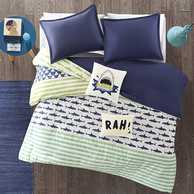 Urban Habitat Kids Finn Full Queen Duvet Cover Set Kids Boy Green Navy Shark Stripe 5 Piece Bed Set Cover 100 Cotton Kid Boys Bedding Set