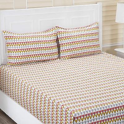 Maspar Superfine Cotton 210 TC Orange Double Bedsheet with 2 Pillow Covers