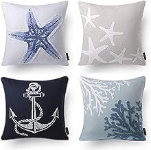 Phantoscope Set of 4 Ocean Series Starfish Decorative Throw Pillow Case Cushion Cover 18 x 18 inches 45cm x 45cm