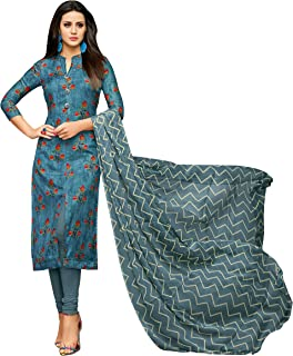 Rajnandini Women's Dark Blue chanderi silk Printed Semi-Stitched Salwar Suit Material With Printed Dupatta (Free Size)