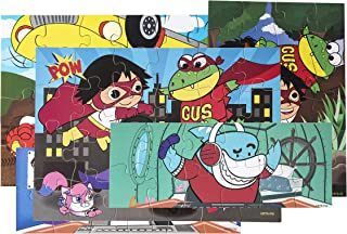 Ryan's World - Wooden Super Hero Jigsaw Puzzles (Set of 5) with Wooden Storage Box