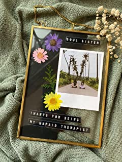 Art India Collections Hanging Brass Glass Photo Frame for Dried Flowers, Pressed Flowers, Poster, Double Glass Frame, Glas...