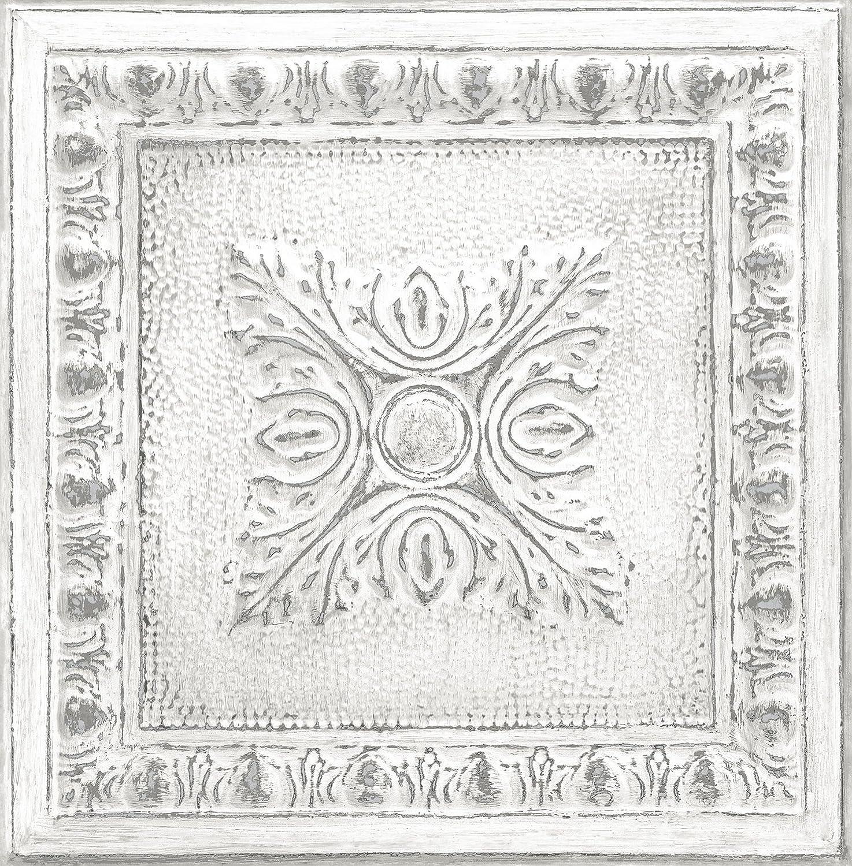 NuWallpaper NU2495 再生ブリキ 剥がして貼る壁紙 ホワイト&オフホワイト