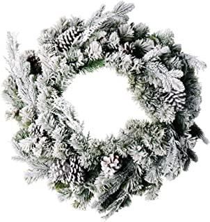 CraftMore Frosted Forest Pine Wreath with Snow - 24 Inches
