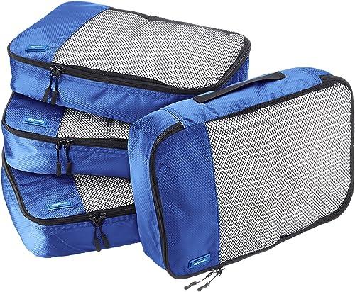 Amazon Basics Lot de 4sacoches de rangement pour bagage TailleM, Bleu