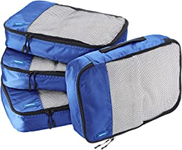 AmazonBasics 4 Piece Packing Travel Organizer Cubes Set - Medium, Blue