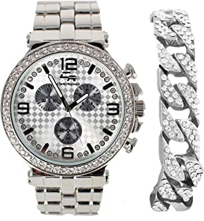 Minimilist Play with Bling - 3 Faux Chrono Dial Sport Metal Timepiece w/3 Stem Decor and Screw Design hindges Matched w/Bling'ed Out Cuban Bracelet - ST10247BC