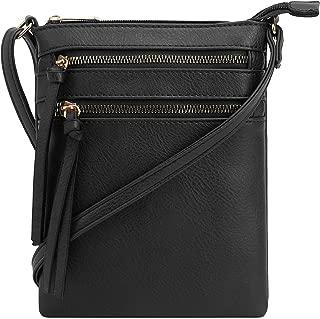 | Crossbody Purse Bag | Functional Multi Pocket Double Zipper Purse | Adjustable Strap | Medium Size Purse