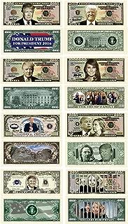 Donald Trump 45th President Collectors 8 Bill Set: Commander In Chief Bill, 2016 Presidential, 2016 Victory, 2016 Trump Vs Hillary, Legacy, 2017 Inaugural, Melania Trump and Hillary For Prison Note