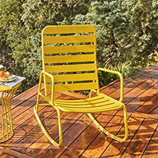 Novogratz 88065YLW1E Poolside Roberta Outdoor Rocking Chair, Yellow