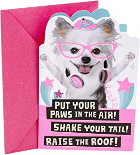 Hallmark Birthday Card for Kids (Dogs with Glasses Stickers)