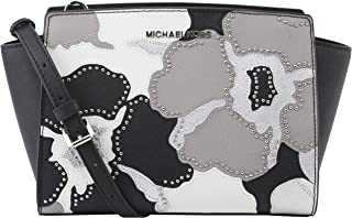 Michael Kors Selma Medium Studded Saffiano Leather Satchel Messenger Crossbody Bag (Black/Pearl Grey)