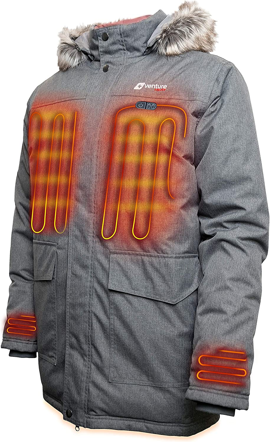 Venture Heat Men's Heated Parka with Battery - Down Fill Electric Long Coat, Insulated, Expedition 2.0