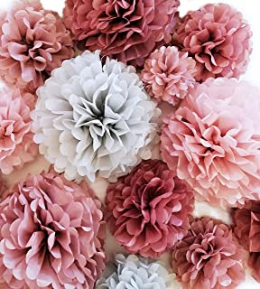 "VINANT 20 PCS - Dusty Rose Party Decoration - Tissue Paper Pom Poms - Birthday Party - Baby Shower - Bridal Shower - Wedding - Bachelorette - Dusty Rose, Mauve, Blush Pink, Grey - 14"", 10"", 8"", 6"