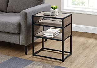 """Monarch Specialties Rectangular Nightstand-2 Storage Shelves-for Living Room or Bedroom-Modern Small Side Table, 22""""H, Dar..."""