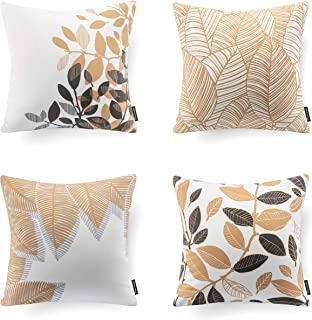Phantoscope Set of 4 Fall Throw Pillow Covers Decorative Golden Autumn Leaves 18 x 18 inches, 45 x 45 cm