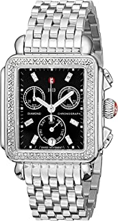 MICHELE Women's MWW06P000171 Deco Stainless Steel Watch with Diamond Accents