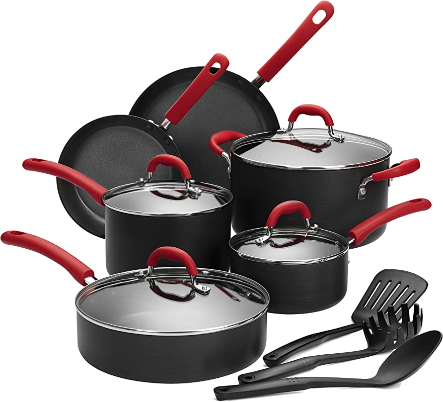 Finnhomy Super Value Hard Anodized Aluminum Cookware Set Double Nonstick Coating Kitchen Pots And Pan Set Professional For Home Restaurant 13 Piece With Red Handle