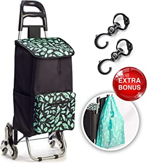 LASTORA Shopping Cart: Stair Climber Trolley Dolly, Foldable Compact Grocery Pull-Cart, Hot Cold Food Carrier, 4 Pockets, Bag, Clip for Condo Apartment