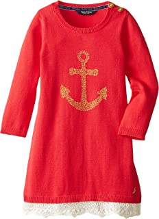 Nautica Girls' Sweater Dress with Puff Glitter Printed Anchor