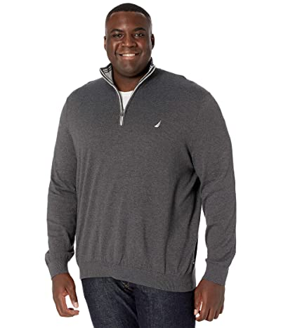 Nautica Big & Tall Big Tall Sweater Mock Neck (Charcoal Heather) Men