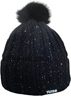 YUTRO Fashion Sequined Beaded Wool Winter Hat with Rabbit Pom
