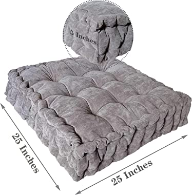 Floor Pillow 25x25 Inch, Square Meditation Cushion Floor Seating for Adults, Oversized Tufted seat Cushion Reading Nook for K