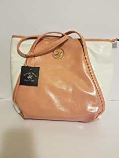 Beverly Hills Polo Club Womens Faux Leather Printed Tote Handbag Pink and white Large