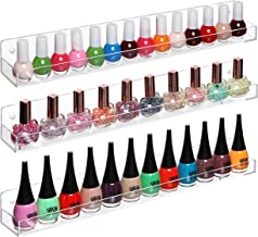 MyGift Set of 3 Wall Mounted Clear Acrylic Nail Polish Floating Shelving Rack/Essential Oil Display Organizer