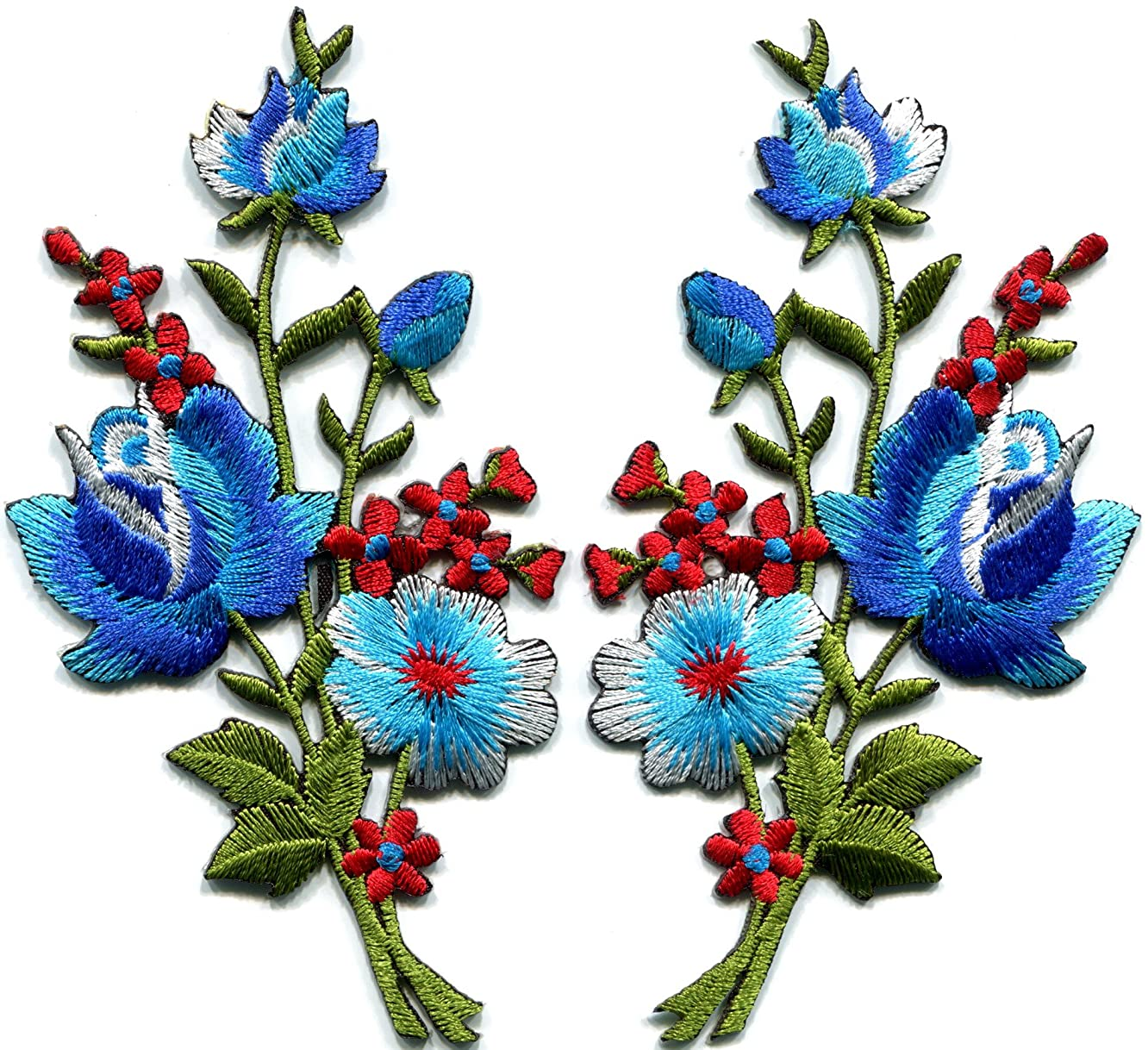 Blue roses pair flowers floral bouquet boho embroidered appliques iron-ons patches new