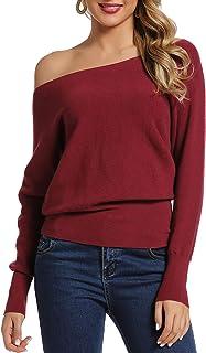 APEIYU Sudadera de manga larga para mujer, con hombros descubiertos, de punto, sólida, suelta.
