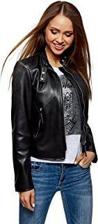 oodji Ultra Women's Faux Leather Jacket with Stand Collar
