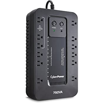 CyberPower EC750G Ecologic Battery Backup & Surge Protector UPS System, 750VA/450W, 12 Outlets, ECO Mode, Compact Uninterruptible Power Supply
