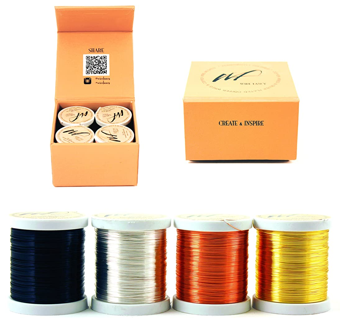 28 Gauge Tarnish Resistant Silver Plated Copper and Copper Wire Set of 4 spools. Thin Wire for Wrapping Jewelry Making Beading Colored DIY Artistic Crochet Craft Wire kit (WF Color Set 1, 0.30 mm)
