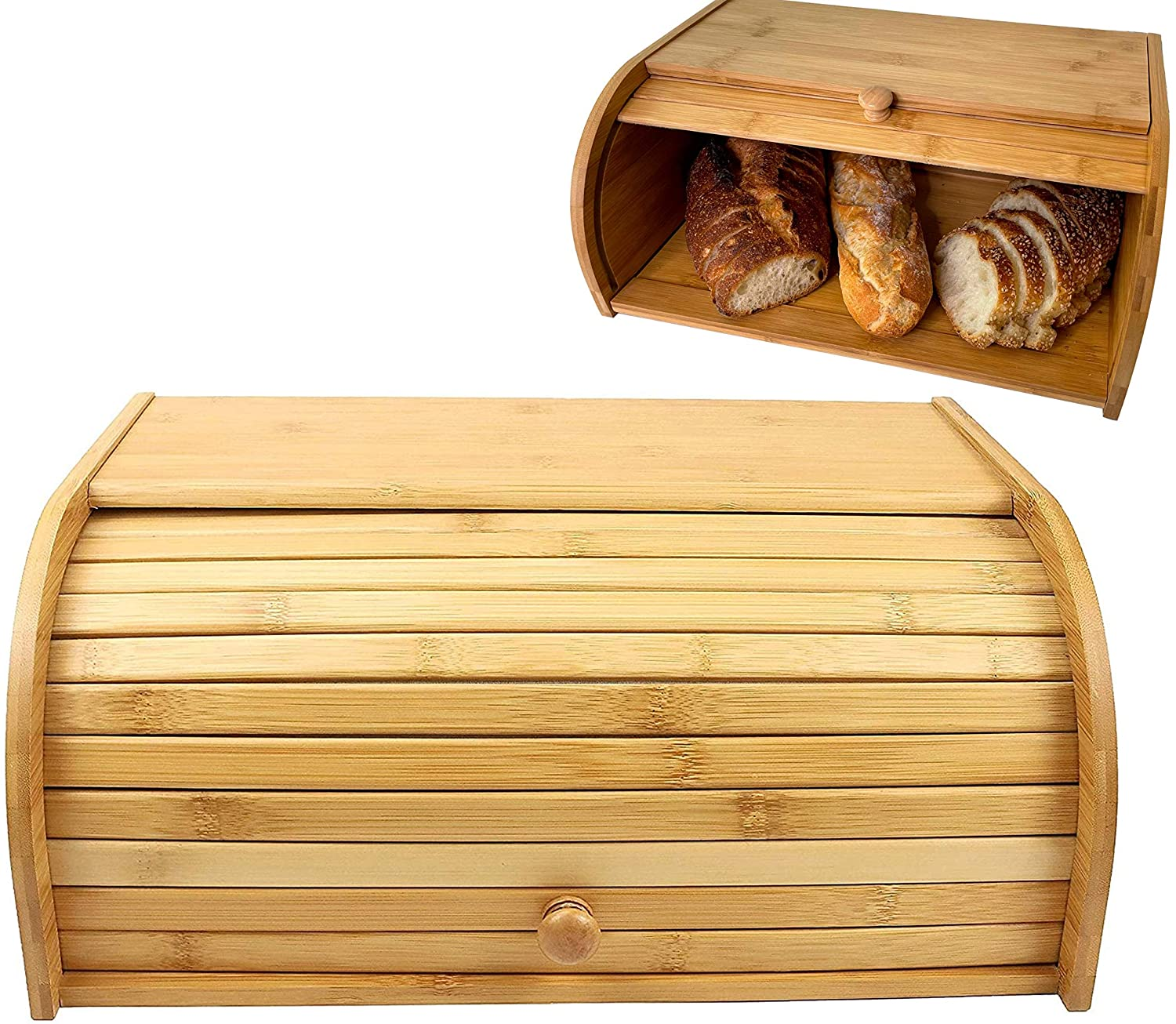 Breadbox Natural Bamboo Roll Top Kitchen Co For Bread Box Super popular Max 53% OFF specialty store