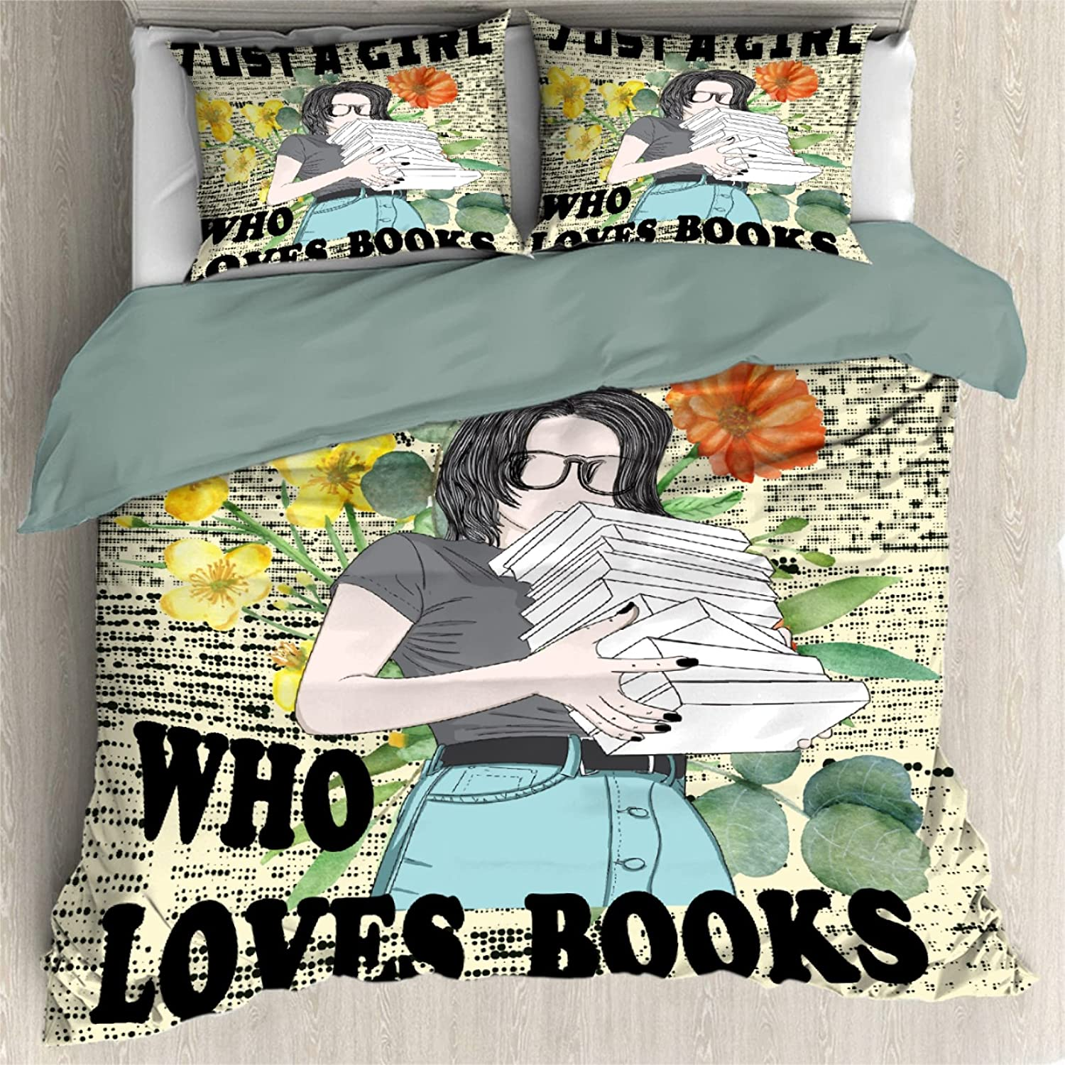 Comforter Cover 3 Pieces Bedding Set Product Max 46% OFF Books Just Loves Girl Who A