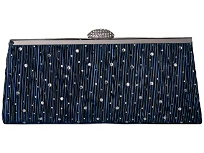 Jessica McClintock Sloan Pleated Frame Clutch (Navy) Handbags