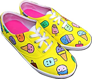 FUNKY N TRENDY Ice Cream Theme Yellow Hand Painted Waterproof Canvas Casual Shoes