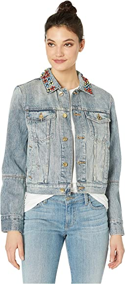 Denim Floral Embellished Jacket